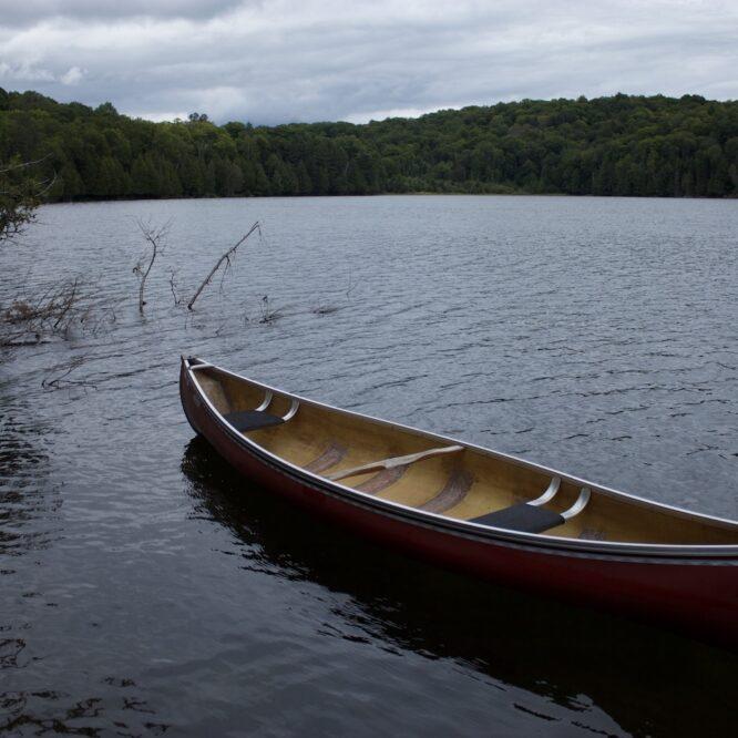 a canoe on a lake